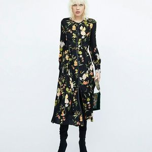 Zara women floral midi dress